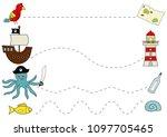 preschool pirate worksheet for... | Shutterstock .eps vector #1097705465