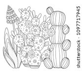 vector coloring page. linear... | Shutterstock .eps vector #1097717945