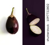 aubergine whole and half on... | Shutterstock . vector #1097722802