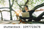 nature for life  happy hipster... | Shutterstock . vector #1097723678