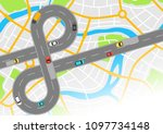 banner with top view of road.... | Shutterstock .eps vector #1097734148