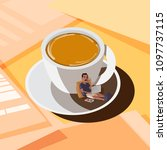 coffee cup with working man in... | Shutterstock .eps vector #1097737115