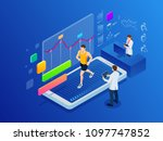 isometric man running on a... | Shutterstock .eps vector #1097747852