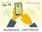 hand holding smartphone with... | Shutterstock .eps vector #1097750732