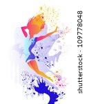slim silhouette of  girl with... | Shutterstock .eps vector #109778048