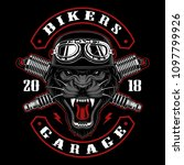 panther biker with spark plugs. ... | Shutterstock .eps vector #1097799926