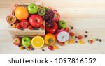 colorful fresh fruits and... | Shutterstock . vector #1097816552