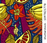 beach cheerful seamless pattern ... | Shutterstock .eps vector #1097821778