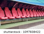 detail of red reserve chair and ... | Shutterstock . vector #1097838422
