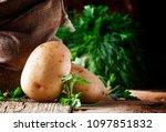 Fresh Raw Potatoes In A Canvas...