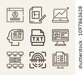 set of 9 computer outline icons ... | Shutterstock .eps vector #1097863628