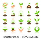 green sprout flat icons set....