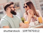 young cheerful man and woman... | Shutterstock . vector #1097870312