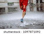 athlete runner knee kinesio...   Shutterstock . vector #1097871092
