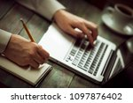 business man calculate about...   Shutterstock . vector #1097876402