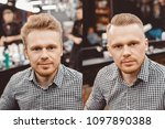 before and after man in barber... | Shutterstock . vector #1097890388