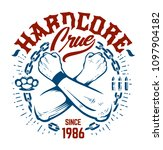 hardcore emblem with crossed... | Shutterstock .eps vector #1097904182
