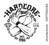 hardcore emblem with crossed...   Shutterstock .eps vector #1097904185