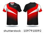 soccer jersey template.red and... | Shutterstock .eps vector #1097910092