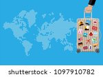 travel bag in hand. plastic... | Shutterstock .eps vector #1097910782
