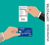 hand holding receipt and credit ... | Shutterstock .eps vector #1097910788