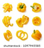 set of fresh whole and sliced... | Shutterstock . vector #1097945585