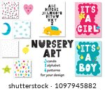 collection of 3 cards  alphabet ... | Shutterstock .eps vector #1097945882