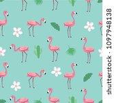 flamingo pattern   trendy... | Shutterstock . vector #1097948138