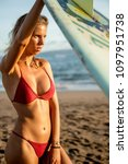 young fit surfer girl in sexy... | Shutterstock . vector #1097951738