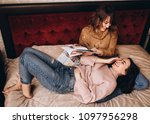 the beautiful sisters smilling... | Shutterstock . vector #1097956298