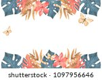 hand drawn watercolor tropical... | Shutterstock . vector #1097956646