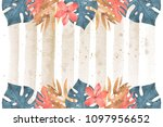 hand drawn watercolor tropical... | Shutterstock . vector #1097956652