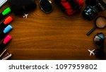 summer wooden table empty space ... | Shutterstock . vector #1097959802