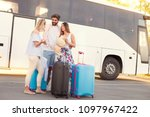 young hipster friends travel... | Shutterstock . vector #1097967422