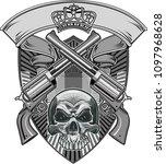 skull and revolver | Shutterstock . vector #1097968628