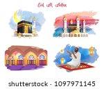 eid al adha muslim holiday... | Shutterstock .eps vector #1097971145
