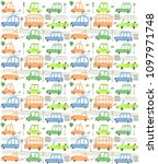 seamless pattern with cars | Shutterstock .eps vector #1097971748