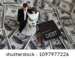 newly married millennial couple ... | Shutterstock . vector #1097977226