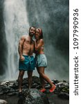 young couple of tourist... | Shutterstock . vector #1097990936
