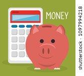 piggy savings with calculator | Shutterstock .eps vector #1097994218