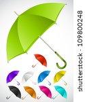 colorful umbrellas set. vector   Shutterstock .eps vector #109800248