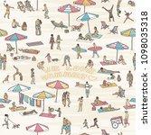 hand drawn seamless pattern... | Shutterstock .eps vector #1098035318