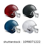 Set of isolated red, black, blue, white helmets for American football