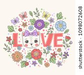 cute cat girl face. love slogan ...   Shutterstock .eps vector #1098072608