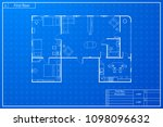 architecture plan of flat with... | Shutterstock .eps vector #1098096632