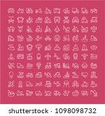 collection of line white icons... | Shutterstock .eps vector #1098098732