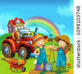 cartoon scene with young and...   Shutterstock . vector #1098103748