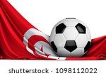 soccer ball on the flag of... | Shutterstock . vector #1098112022