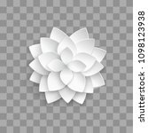 white paper 3d lotus isolated... | Shutterstock . vector #1098123938