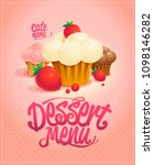 dessert menu cover vector... | Shutterstock .eps vector #1098146282